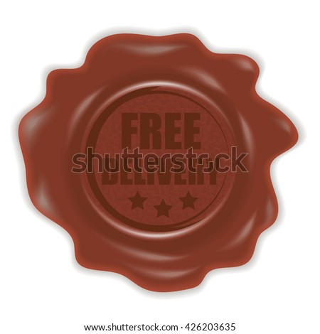 Stamp with a free delivery sign. Wax seal. Vector illustration.