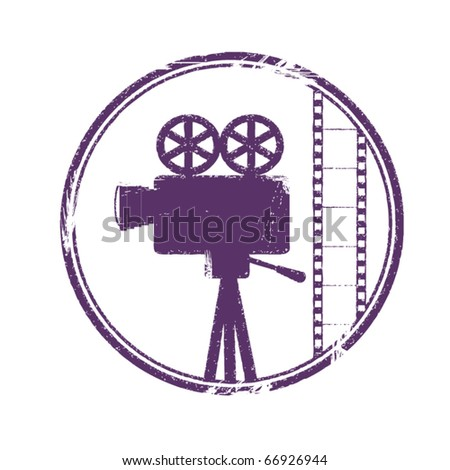 stamp with camera and film - stock vector