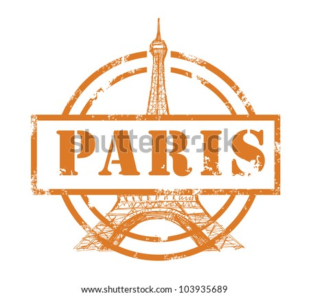 stamp with Eiffel Tower - stock vector