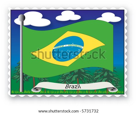 Stamp with flag from Brazil-Vector - stock vector