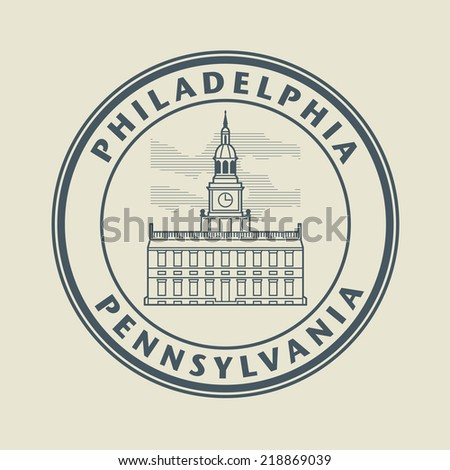 Stamp with name of Pennsylvania, Philadelphia, vector illustration - stock vector