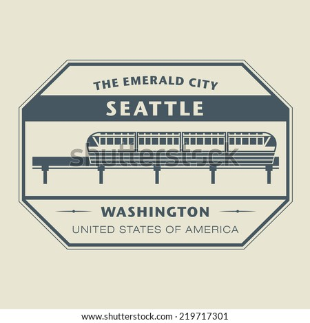 Stamp with name of Washington, Seattle, vector illustration - stock vector