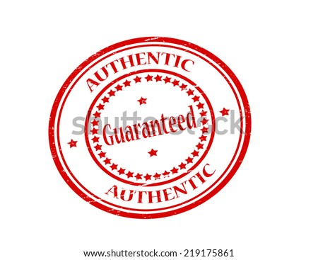Stamp with text authentic guaranteed inside, vector illustration - stock vector