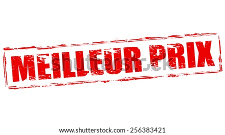Stamp with text best price in French language inside, vector illustration