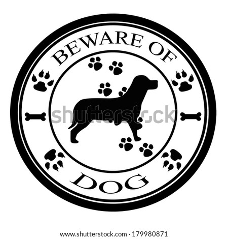 Stamp with text beware of dog inside, vector illustration - stock vector