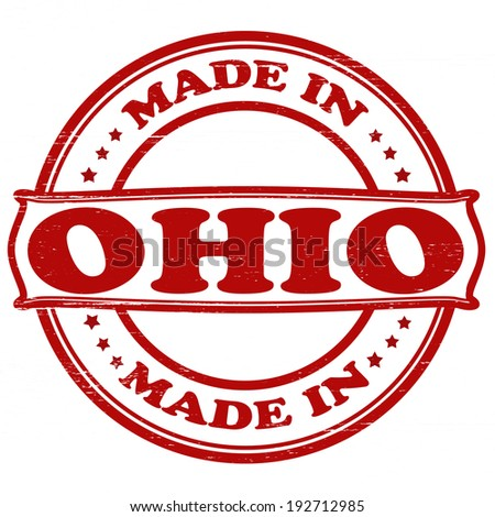Stamp with text made in Ohio inside, vector illustration
