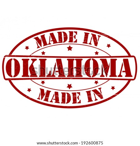 Stamp with text made in Oklahoma inside, vector illustration