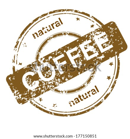 stamp with text natural coffee, eps10 - stock vector
