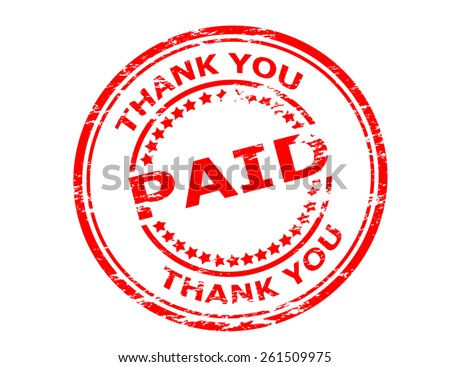 Stamp with text paid thank you inside, vector illustration - stock vector