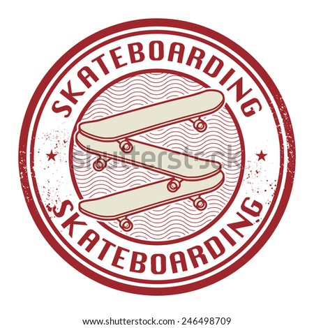 Stamp with text Skateboarding, vector illustration - stock vector