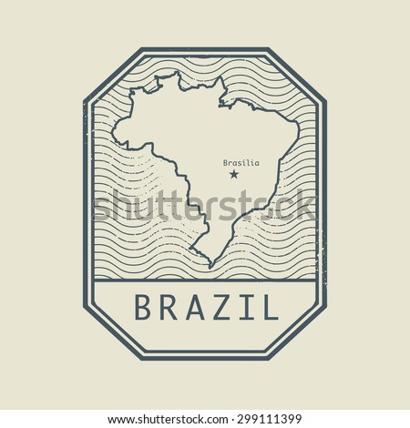 Stamp with the name and map of Brazil, vector illustration - stock vector