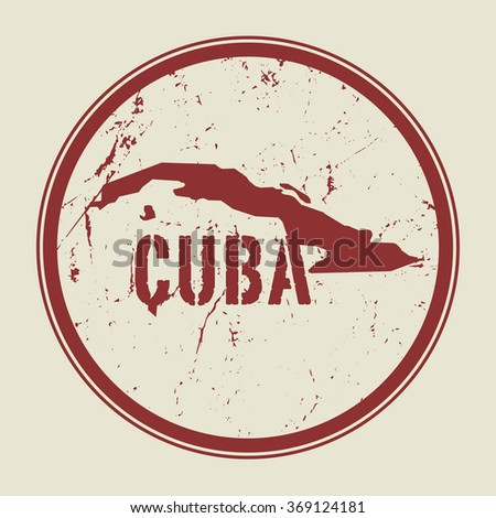 Stamp with the name and map of Cuba, vector illustration  - stock vector