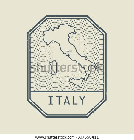 Stamp with the name and map of Italy, vector illustration - stock vector