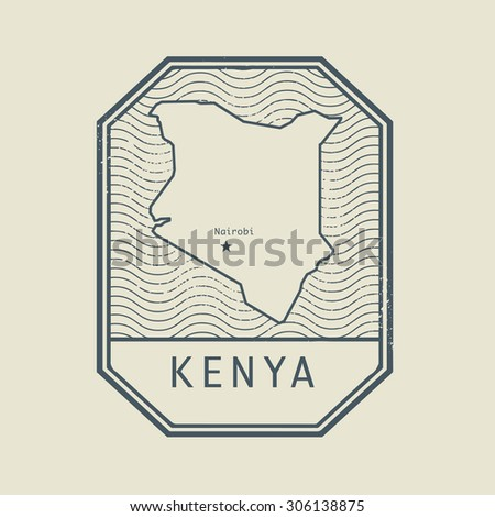 Stamp with the name and map of Kenya, vector illustration - stock vector
