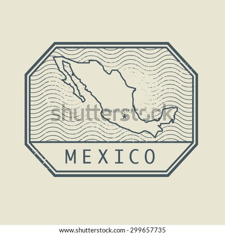 Stamp with the name and map of Mexico, vector illustration - stock vector