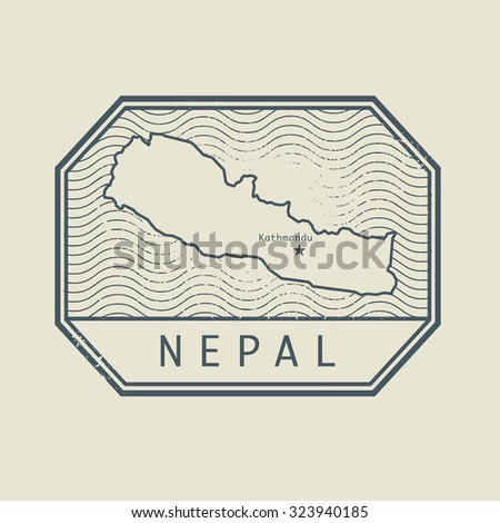 Stamp with the name and map of Nepal, vector illustration - stock vector