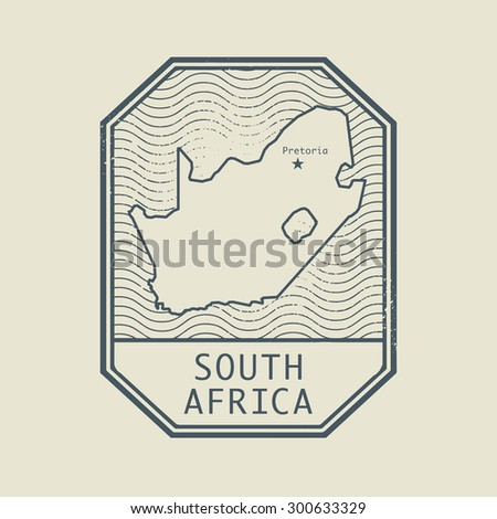 Stamp with the name and map of South Africa, vector illustration - stock vector