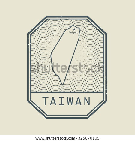 Stamp with the name and map of Taiwan, vector illustration - stock vector