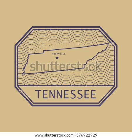 Stamp With The Name And Map Of Tennessee United States Vector Ilration