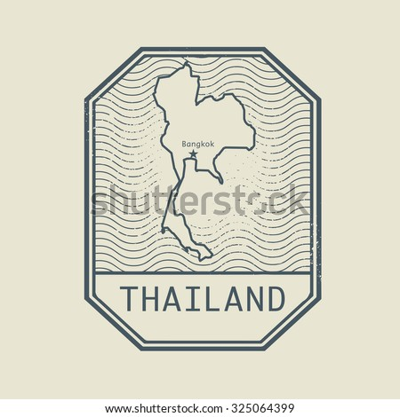 Stamp with the name and map of Thailand, vector illustration - stock vector