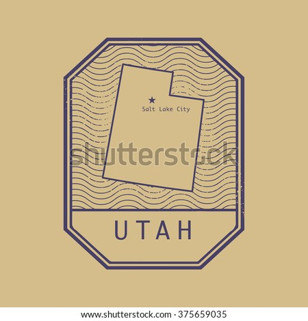 Stamp with the name and map of Utah, United States, vector illustration - stock vector