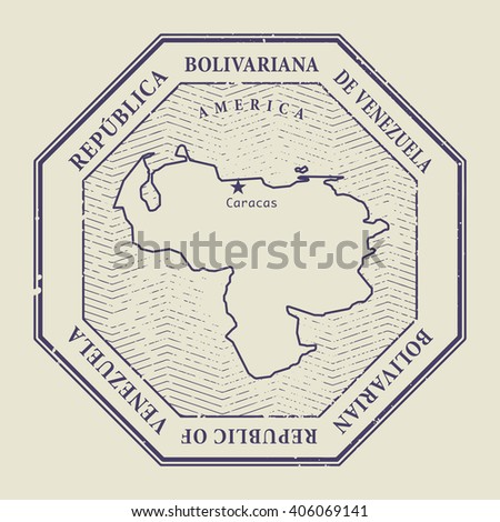 Stamp with the name and map of Venezuela, vector illustration - stock vector