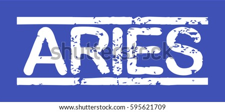 "Stamp with word ""aries"", grunge style, white text on blue indigo background"
