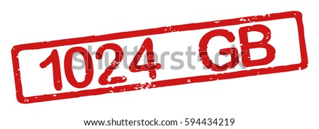 "Stamp with word ""1024 GB"", grunge style, on white background"