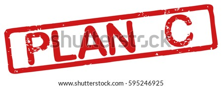 "Stamp with word ""plan c"", grunge style, on white background"