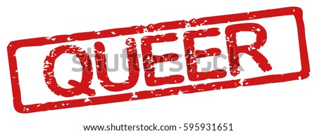 "Stamp with word ""queer"", grunge style, on white background"