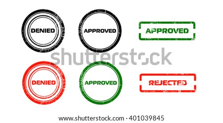 Stamps approved, denied, rejected - stock vector