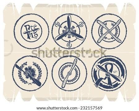 Stamps - screws and motors, vector - stock vector