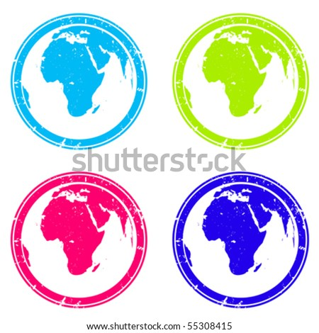 Stamps with earth globes over white - stock vector