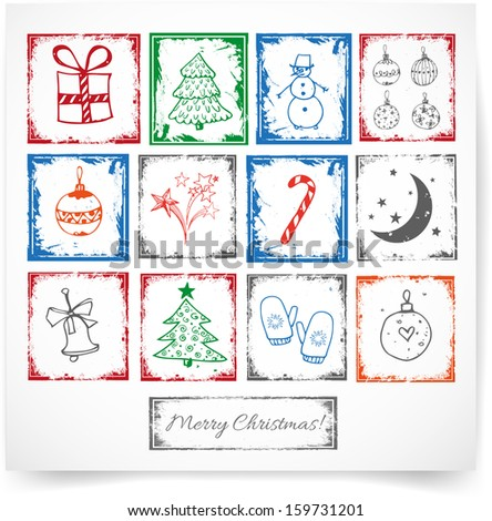 Stamps with symbols of Christmas. Perfect for scrapbooking.  Vector illustration. - stock vector