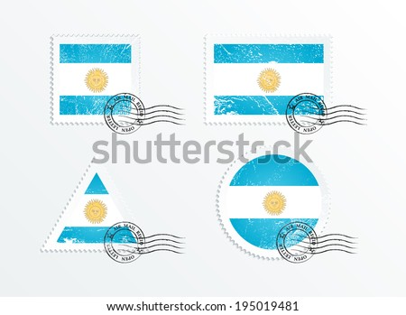 Stamps with the image of the flag. Stamp with flag. Triangular stamp, stamp rectangular, round stamp, square stamp. Flag of Argentina. Mark in grungy style. Battered mark. Old label. - stock vector