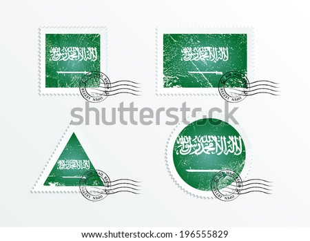 Stamps with the image of the flag. Stamp with flag. Triangular stamp, stamp rectangular, round stamp, square stamp. Mark in grungy style. Battered mark. Old label. Flag of Saudi Arabia
