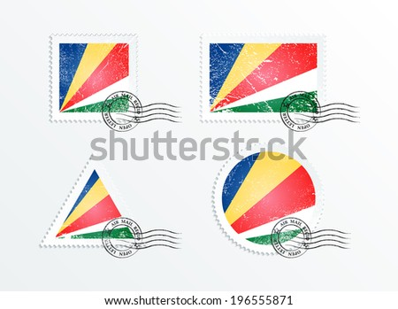 Stamps with the image of the flag. Stamp with flag. Triangular stamp, stamp rectangular, round stamp, square stamp. Mark in grungy style. Battered mark. Old label. Flag of Seychelles