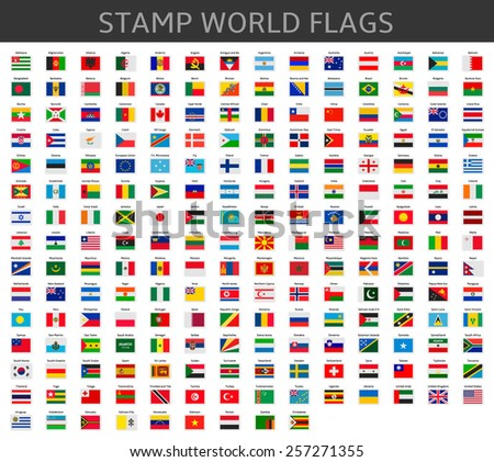 stamps world flags - stock vector