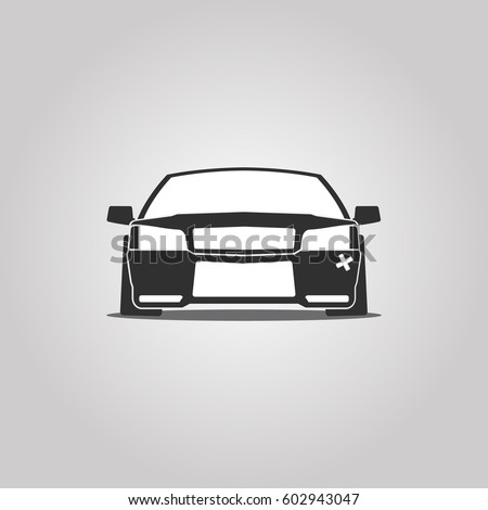Stanced Or Lowed Flat Car Face Paper Cut Style Icon Vector Illustration