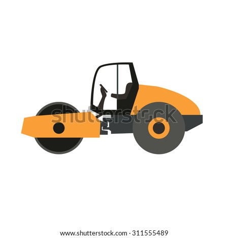 Stand alone Icon in flat style ( road roller )