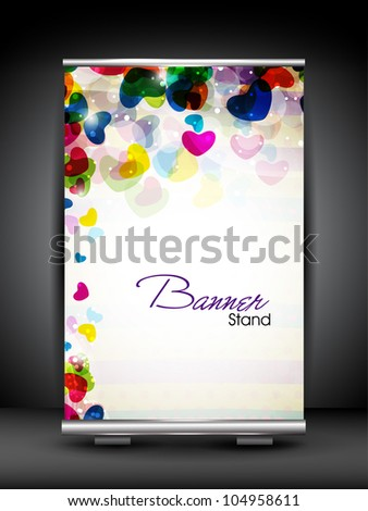 Stand banner with roll up display for product promotion or template design with colorful heart shape having transparency effect. EPS 10, editable vector illustration. - stock vector