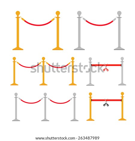 Stand rope barriers set in flat design style isolated on white background, vector illustration - stock vector