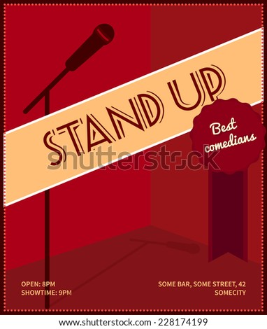 "Stand up comedy event poster. Retro style vector illustration with black silhouette of microphone, badge ""best comedians"" and text.  - stock vector"