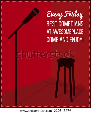 Stand up comedy event poster. Retro style vector illustration with black silhouette of microphone and bar chair. - stock vector