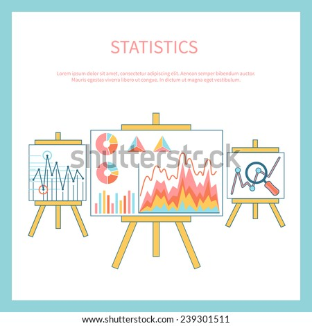 Stand with charts graphs and parameters. Statistic business concept of analytics - stock vector