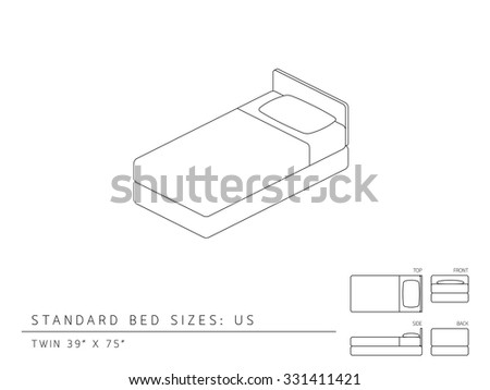 standard bed sizes canada stock vector united states twin size inches perspective crib mattress cm chart