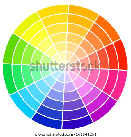 Standard color wheel isolated on white background vector illustration. - stock vector