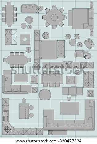 Standard furniture symbols used architecture plans stock vector standard furniture symbols used in architecture plans icons set graphic design elements gray isolated malvernweather Gallery