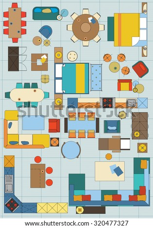Standard furniture symbols used architecture plans stock vector hd standard furniture symbols used in architecture plans icons set graphic design elements in color malvernweather Gallery