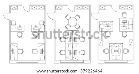Standard Furniture Symbols Used In Architecture Plans Icons Set Office Planning Icon Graphic